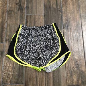 nike dri-fit black white neon zebra shorts small